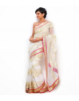 Bollywood Replica - Mandira Bedi in Designer Net Golden Off White Saree - 391 (OM-VOL-12)
