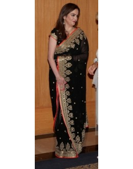 Bollywood Replica - Neeta Ambani in Designer Georgette Black Saree - 385 (OM-VOL-12)