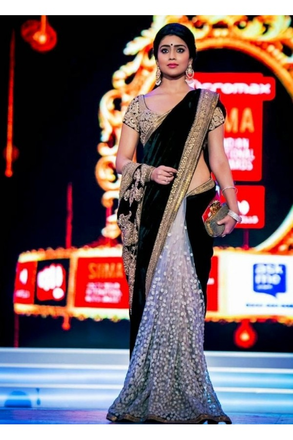 Bollywood Replica - Shriya Saran in Designer Net Velvet Grey Black Saree - 387 (OM-VOL-12)