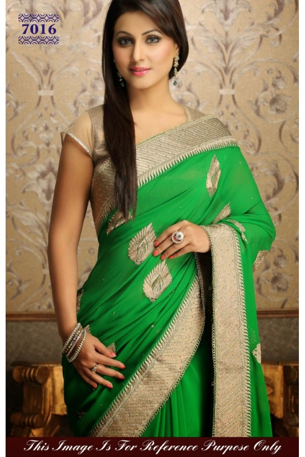 Bollywood Replica - Designer Green and Beige Georgette Saree - 7016