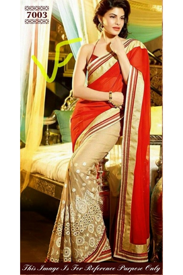 Bollywood Replica - Jacqueline Fernandez Beige and Red Color Georgette Saree - 7003 (SAM-205)
