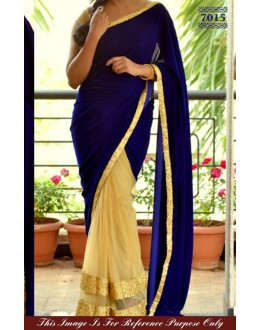 Bollywood Replica - Royal Blue and Cream Color Velvet Saree - 7015 (SAM-205)
