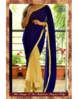 Bollywood Replica - Beautiful Velvet Net Golden Blue Color Saree - 7015 (SIA-7-Series)