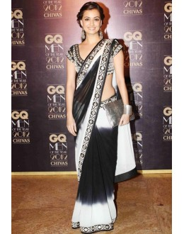Bollywood Replica - Dia Mirza In Black And White Saree At GQ Awards - 299 (SAM-182)