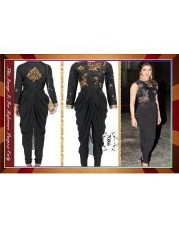 Bollywood Replica -Priyanka Chopra in Ivory Georgette Drape Black Kurta - 7086 (MIA-7-Series)