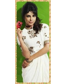 Bollywood Replica -Priyanka Chopra in Ivory Georgette Drape White Kurta - 7085 (SIA-7-Series)