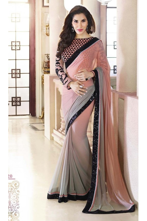 Bollywood Replica - Sophie Choudry Georgette Shaded Grey and Pink Color Saree - 7092 (SIA-7-Series)