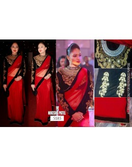 Bollywood Replica - Nikesha Patel Designer Red Net Saree IB-5185