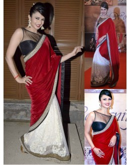 Bollywood Replica - Divyanka Tripathi Red Velvet Palla Saree - 5056 (IB-25)