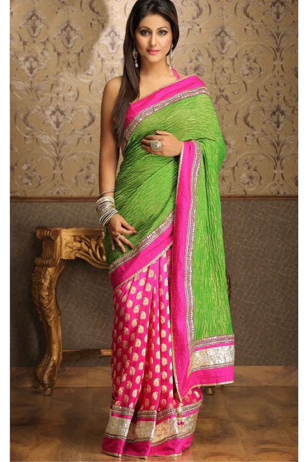 Bollywood Replica - Elegant Half Parrot Green and Pink Brocade Akshara Collection Party Wear Saree - TM-51 ( TM-5 )