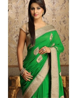 Bollywood Replica - Elegant Parrot Green Hina Khan Georgette Saree - 5012 (IB-25)