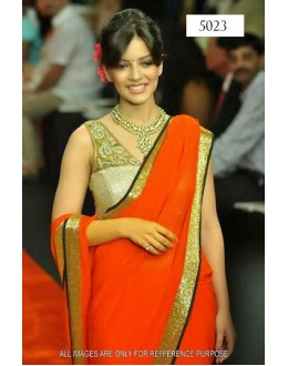 Bollywood Replica - Ishita Shrama Designer Orange Chiffon Saree - 5023 (IB-25)