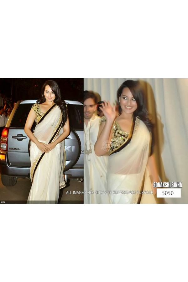 Bollywood Replica - Sonakshi Sinha Net Off-White Embroidered Bollywood Style Saree - 5050 (IB-25)