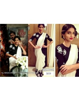 Bollywood Replica - Sonam Kapoor Cream Saree At Bhaag Milkha Bhaag Promotions - 5059 (IB-25)