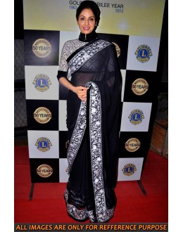 Bollywood Replica - Sridevi Style Black Chiffon Saree At Lion's Club 50th Anniversary - 5016 (IB-25)