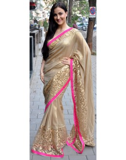 Bollywood Replica - Elli Avram Beige Color Silk Georgette Saree - 5206 (IB-398)