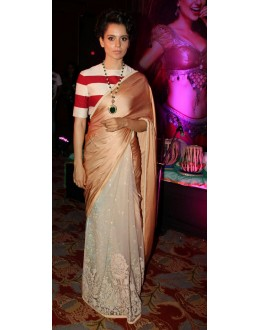Bollywood Replica - Kangana Ranaut Moss Velvet Saree In Peach and Off White Color  - 9116 (IB-372)