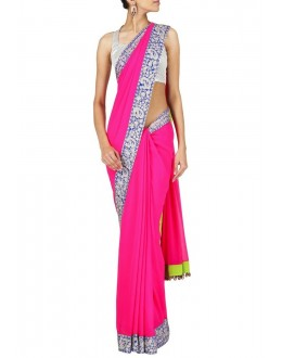 Bollywood Replica - Model Georgette and Brocade Saree In Pink Colour - 9123 (IB-372)