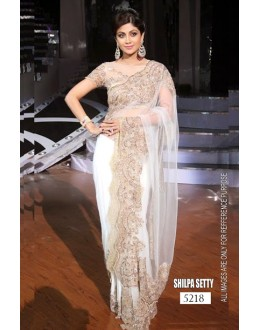 Bollywood Replica - Shilpa Shetty in White Designer Embroidery Net Saree - 5218 (IB-398)