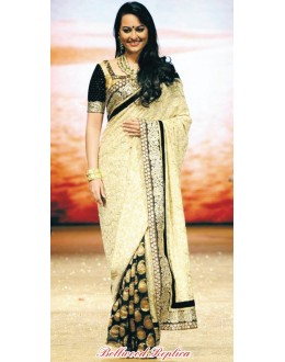 Bollywood Replica - Sonakshi Sinha Embroidery Cream & Black Saree  - 9109 (IB-372)