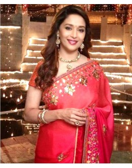 Bollywood Replica - Madhuri Dixit Rose Red Georgette Designer Saree 273