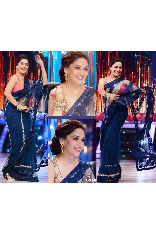 Bollywood Replica - Madhuri Dixit Dark Blue Designer Saree D No.1358