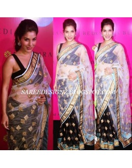 Bollywood Replica - Sophie Chaudhary Designer Black & White Net Saree - 1104