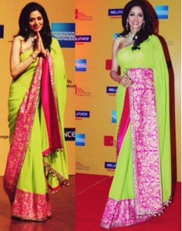 Bollywood Replica - Sridevi in a pink and green saree at the Mumbai Film Festival- D.NO.1322