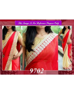 Bollywood Replica - Designer Red & Cream Wedding Wear Saree - 9702