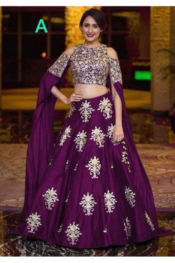 530cd9bcc6d Bollywood Style - Party Wear Purple Crop Top Lehenga - 9118-A