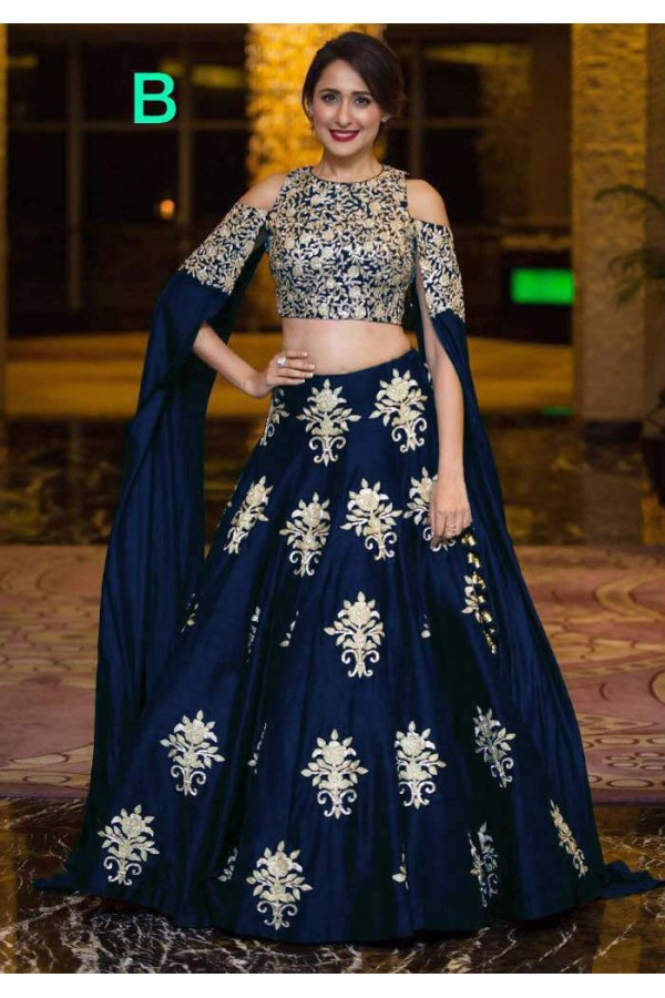 0af163bf947e0 Bollywood Style - Party Wear Blue Crop Top Lehenga - 9118-B