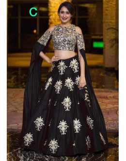 Bollywood Style - Party Wear Black Crop Top Lehenga - 9118-C