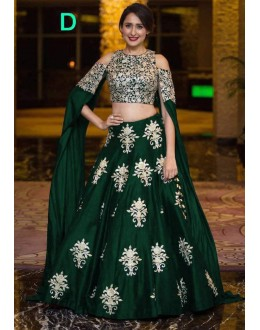 Bollywood Style - Party Wear Green Crop Top Lehenga - 9118-D