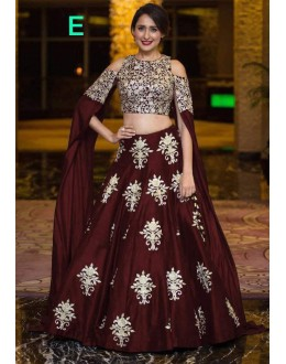 Bollywood Style - Party Wear Maroon Crop Top Lehenga - 9118-E
