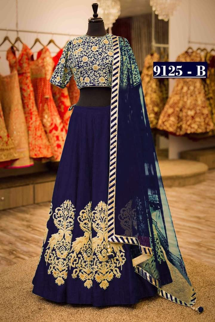 Bollywood Style - Designer Navy Blue Tapeta Silk Lehenga Choli  - 9125-B
