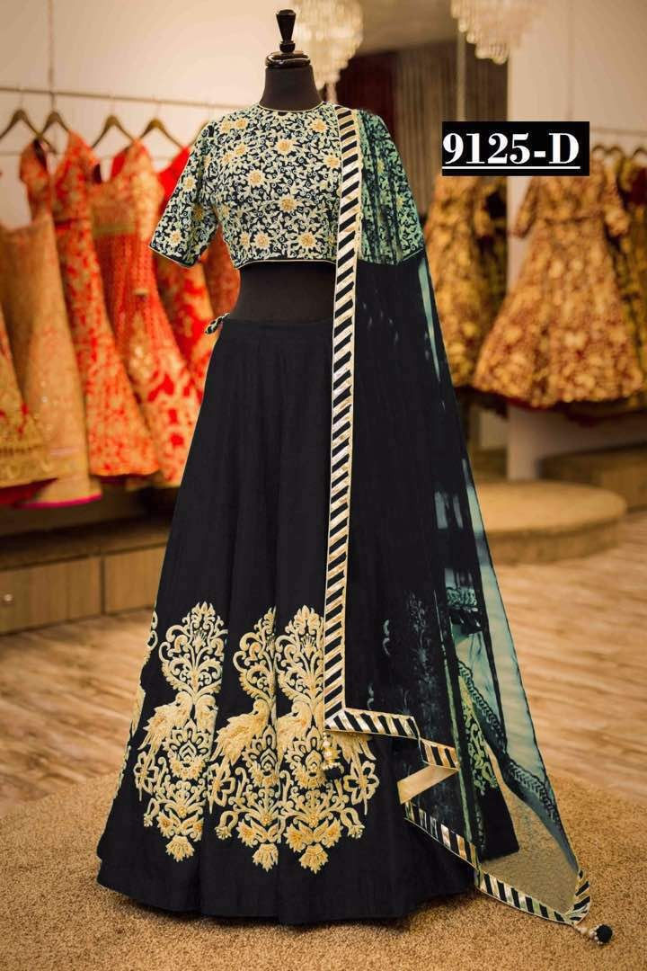 Bollywood Style - Wedding Wear Black Tapeta Silk Lehenga Choli  - 9125-D