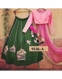 Bollywood Style - Party Wear Pink & Green Lehenga Choli  - 9126-A