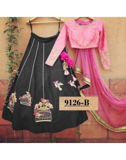 Bollywood Style - Party Wear Pink & Black Lehenga Choli  - 9126-B