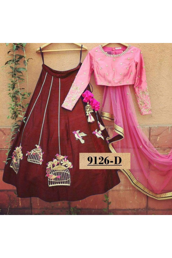 Bollywood Style - Party Wear Pink & Maroon Lehenga Choli  - 9126-D