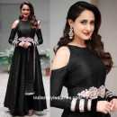Bollywood Inspired - Party Wear Black Silk Gown - AB-73Black