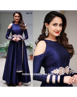 Bollywood Inspired - Party Wear Navy Blue Silk Gown - AB-73Blue