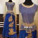Bollywood Inspired - Reay To Wear Blue Silk Cape Kurti - BDW 478-Blue