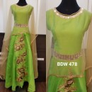 Bollywood Inspired - Reay To Wear Green Silk Cape Kurti - BDW 478