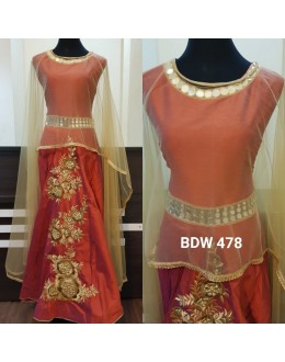 Bollywood Inspired - Reay To Wear Orange Cape Kurti - BDW 478-Orange