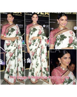 Bollywood Inspired - Deepika Padukone In White Floral Saree  - DFloral