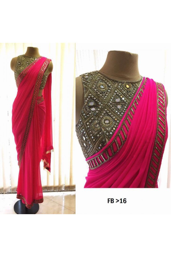 Bollywood Inspired - Party Wear Pink Georgette Saree  - FB-16