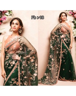 Bollywood Inspired - Designer Green Embroidered Saree - FB-18