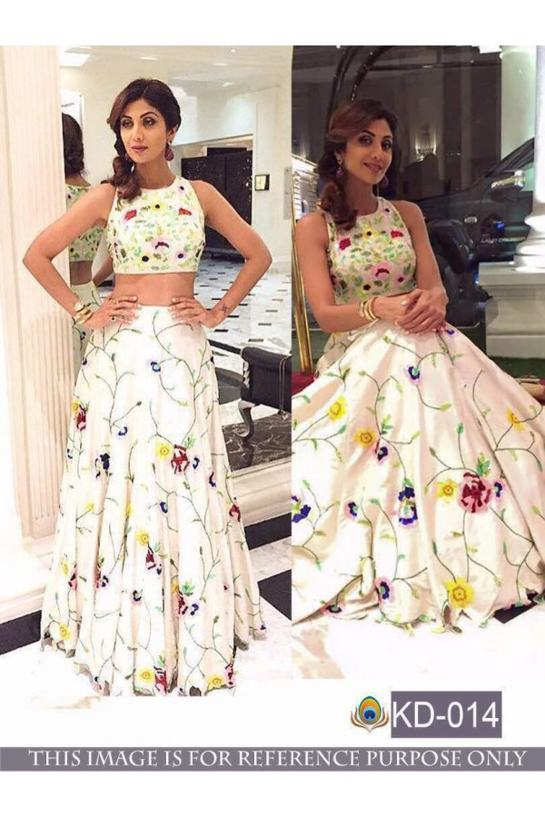 Bollywood Style - Shilpa Shetty In White Crop Top Lehenga - KD-014