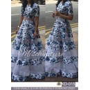 Bollywood Inspired - Party Wear Blue & white Silk Gown  - KD-015