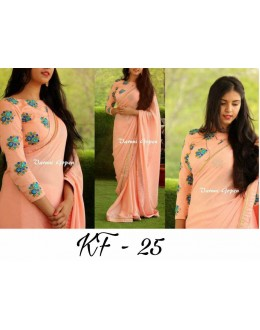 Bollywood Inspired - Party Wear Georgette Peach Saree  - KF-25